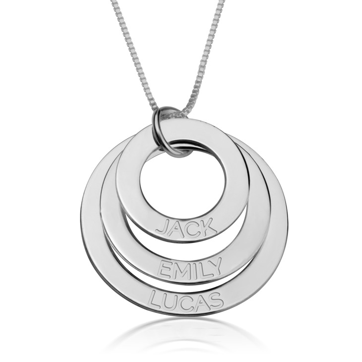 Sterling Silver Mothers Necklace Discs Personalized