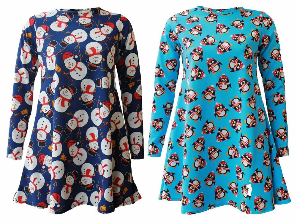 7e06b697e637 Details about New Womens Plus Size Penguin Snowman Long Sleeve Flared Dress  8-26