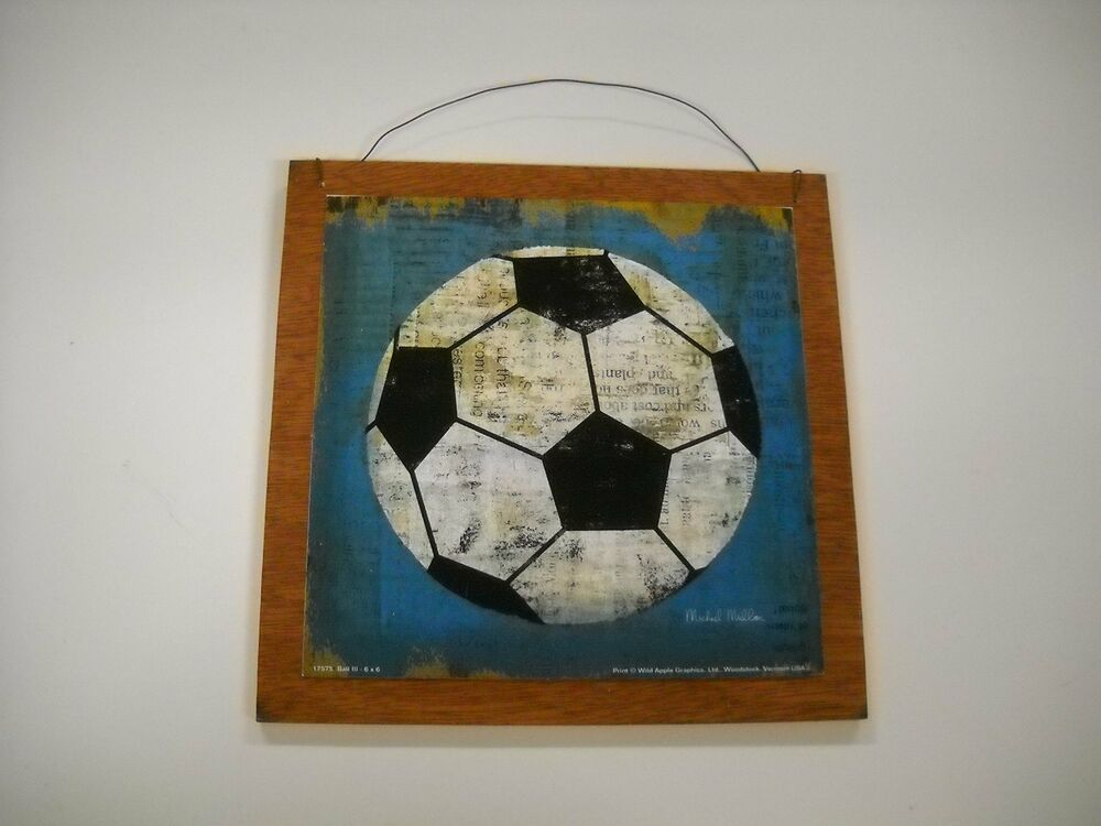 Soccer ball boys sports bedroom wooden wall art sign for Boys wall art