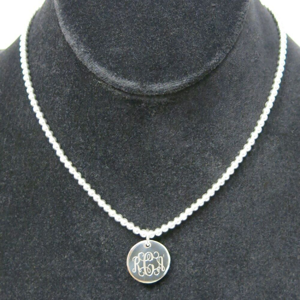 925 sterling silver monogram bead childrens necklace