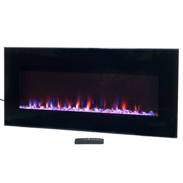 Wall Hung Electric Fireplace Home Decor Led Flame Heater Modern Black Glass Fire Ebay