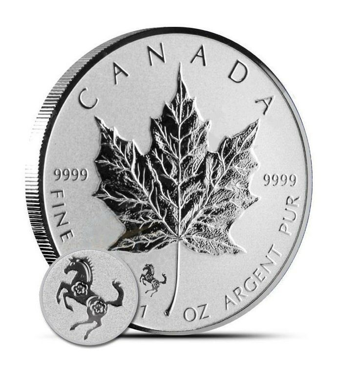 2014 5 Canadian Maple Leaf Horse Privy 1 Oz 9999 Silver