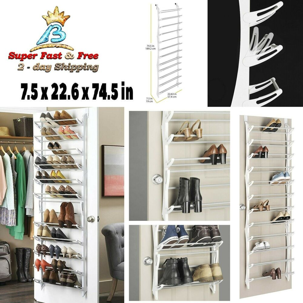 over the door shoe rack 36 pair storage shoes organizer home closet hanger white ebay. Black Bedroom Furniture Sets. Home Design Ideas