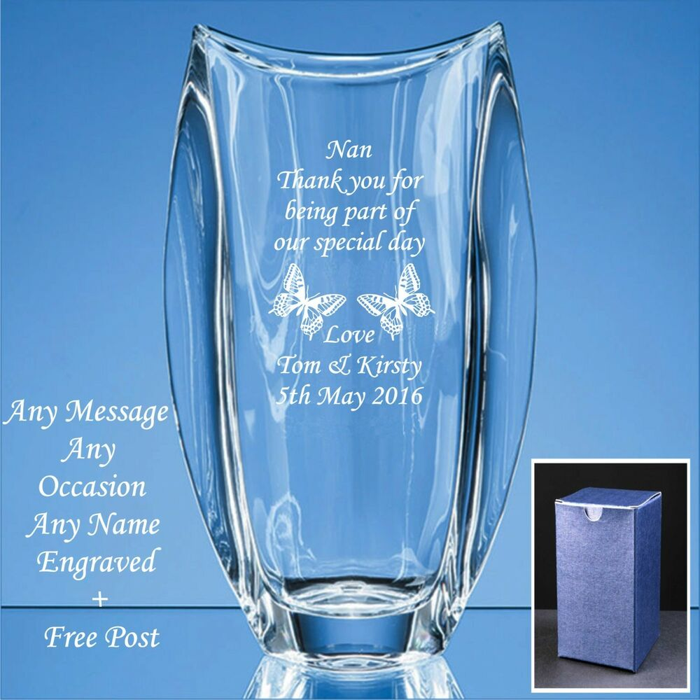 Personalised Engraved Crystal Vase, Wedding Gifts, Mother