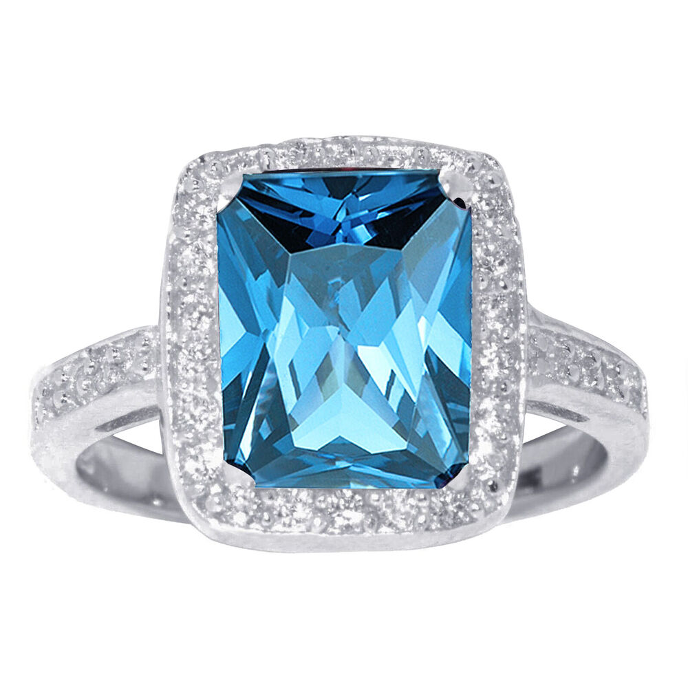 Large Emerald Cut Tanzanite W White Sapphire Cz Genuine
