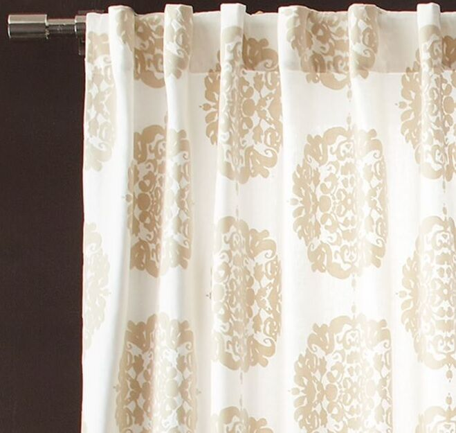 "Claude Medallion Flocked Curtain 48""x96"" in Stone from West Elm ..."