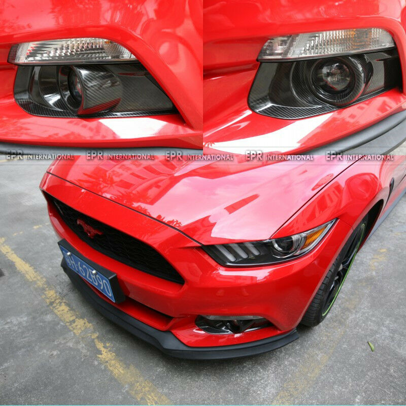 new 2pcs front fog light lamp cover panel for ford 2015 mustang carbon. Black Bedroom Furniture Sets. Home Design Ideas