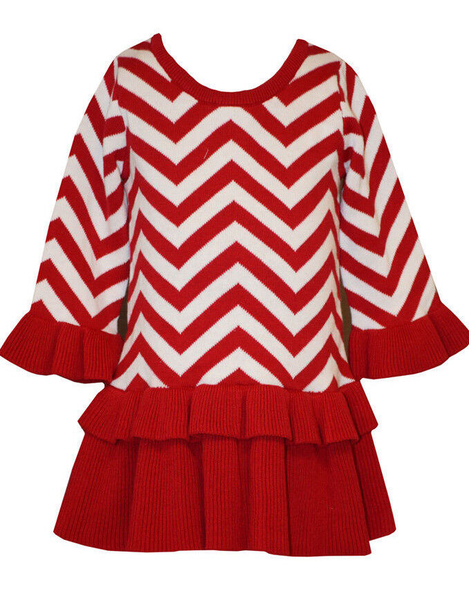 Jean holiday christmas sweater red bow dress baby girls 12 18 24