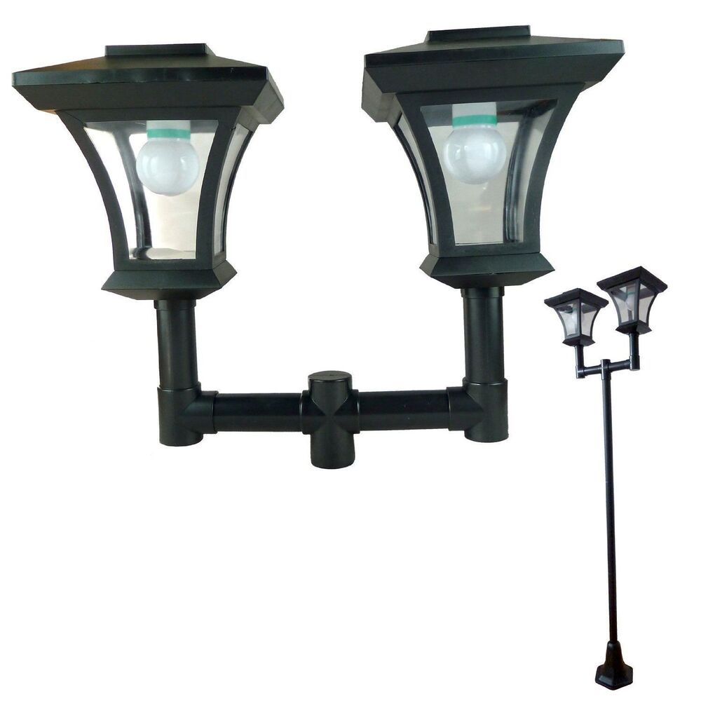 twin head solar garden lamp post light bright white led lamppost