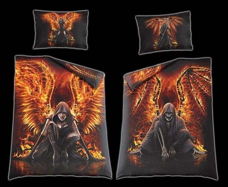fantasy bettw sche flaming death gothic bettdecke einrichtung schlafzimmer ebay. Black Bedroom Furniture Sets. Home Design Ideas