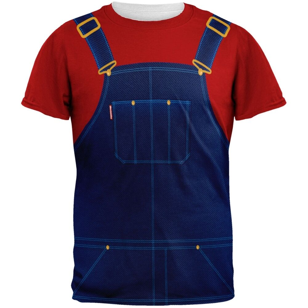 Halloween overalls red t shirt costume all over adult t for Costume t shirts online