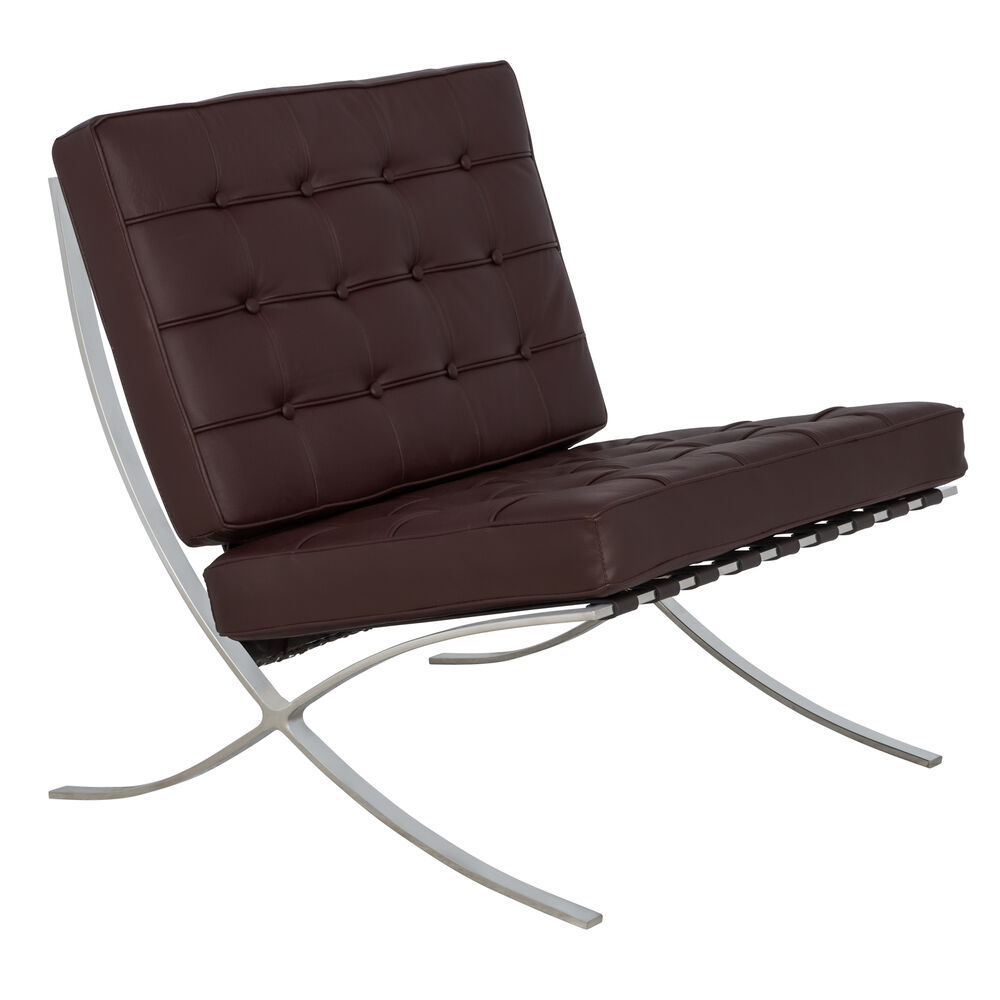 barcelona style modern leather pavilion chair in dark brown ebay. Black Bedroom Furniture Sets. Home Design Ideas