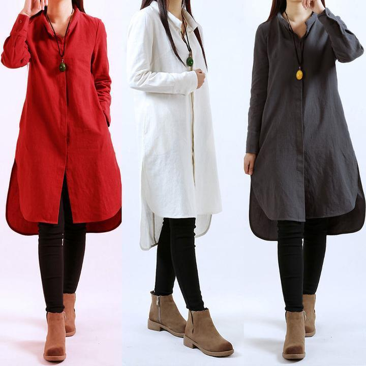 New women long sleeve casual baggy split hem modern shirt Women s long sleeve shirt dress
