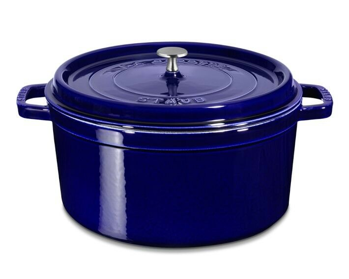 staub round enameled cast iron cocotte second choice ebay. Black Bedroom Furniture Sets. Home Design Ideas