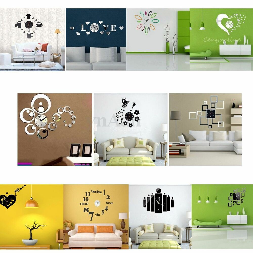Diy novelty 3d home art mirror decoration wall clock for 3d room decoration