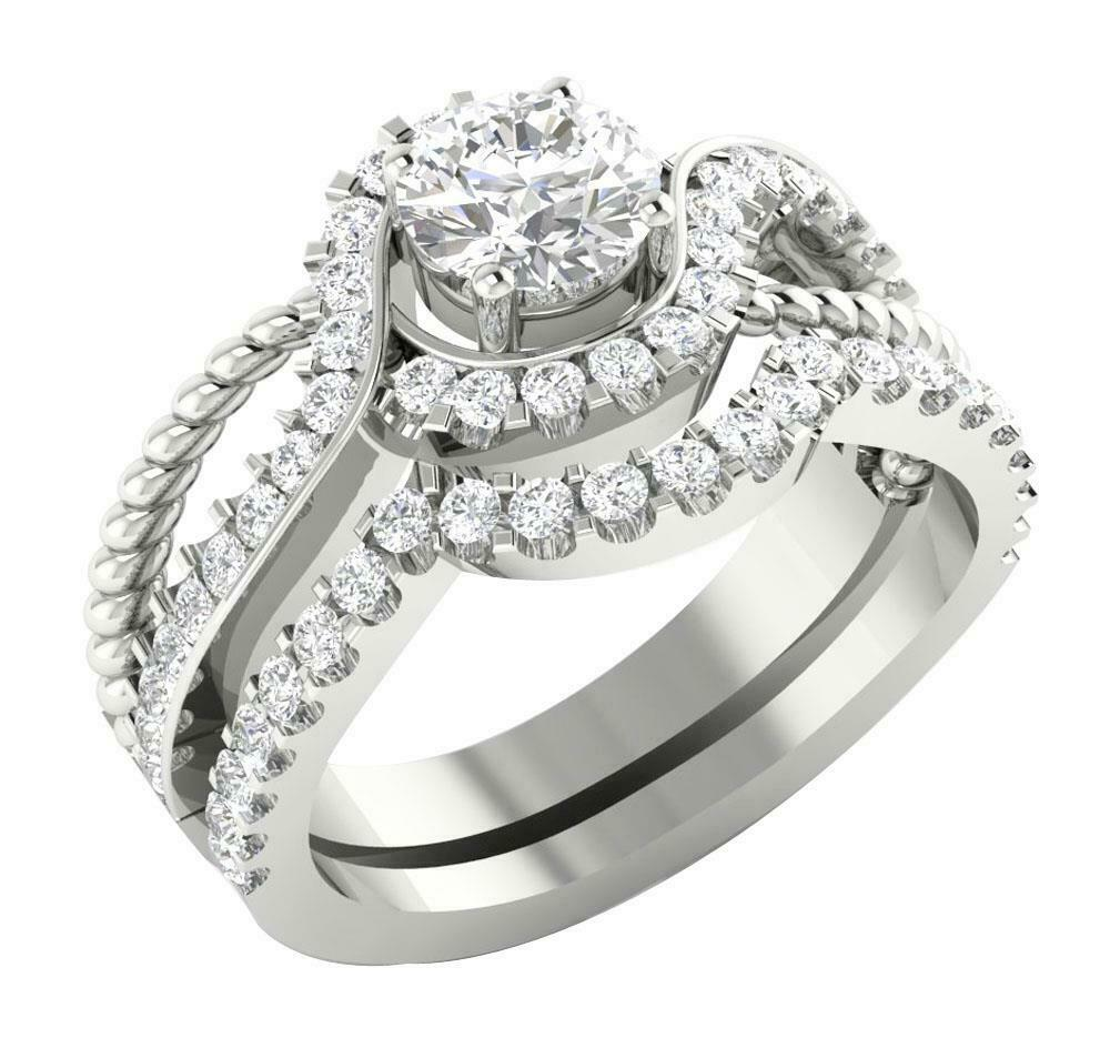 White Gold Wedding Sets: 14K White Gold SI1/G 1.75TCW Real Diamond Unique Bridal