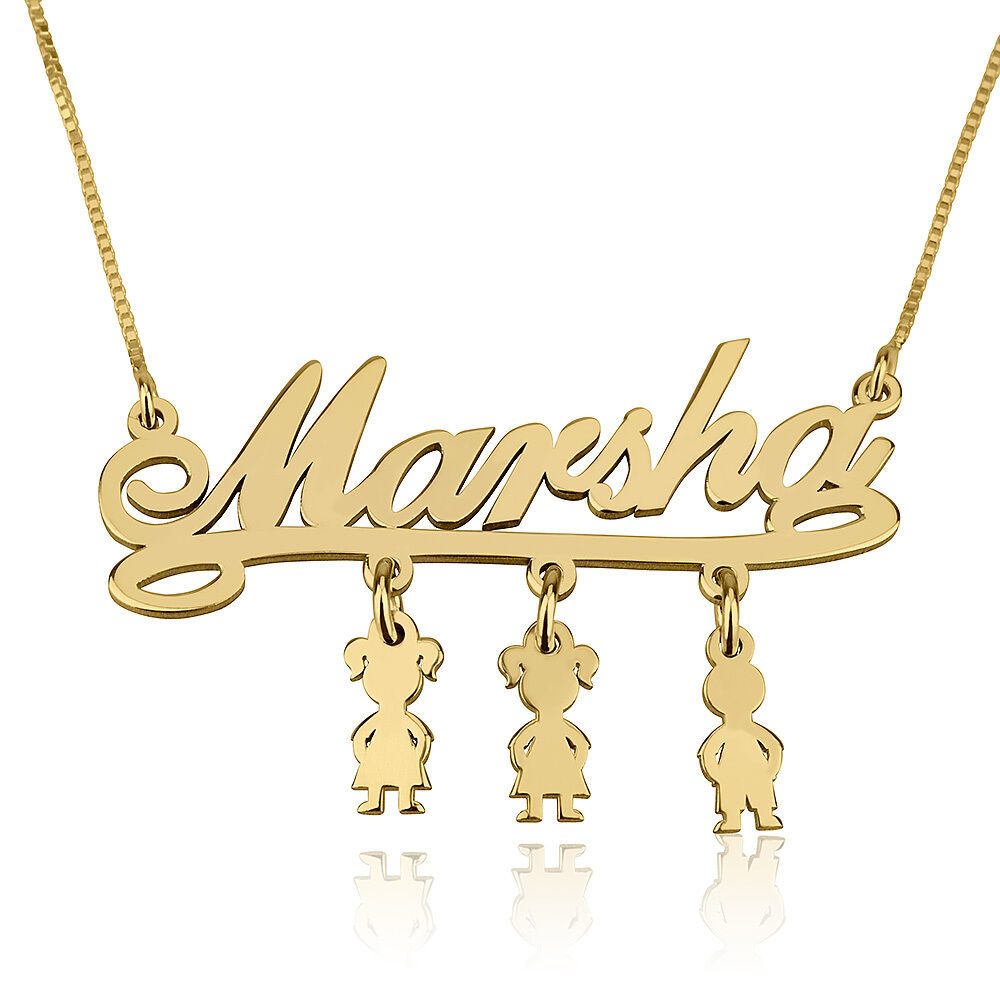 Mothers Name Necklace Gold Plated Children Charms Necklace