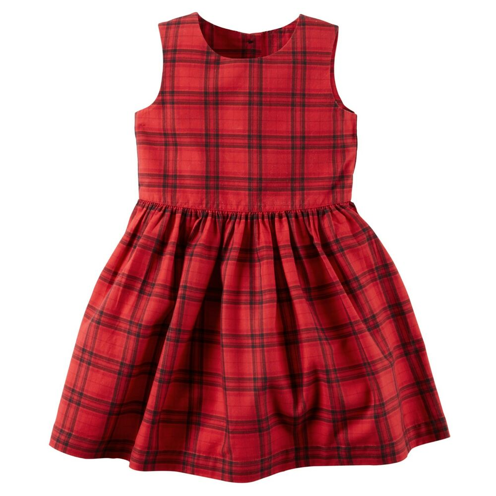 6f01d7404 New Carter s Girls Holiday Dress Red Black Plaid Christmas NWT 7 8 ...