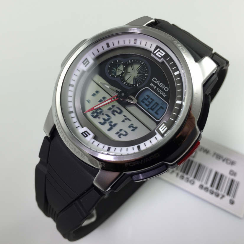 men 39 s casio analog digital thermometer watch aqf 102w 7bv aqf102w 7bv 4971850869979 ebay