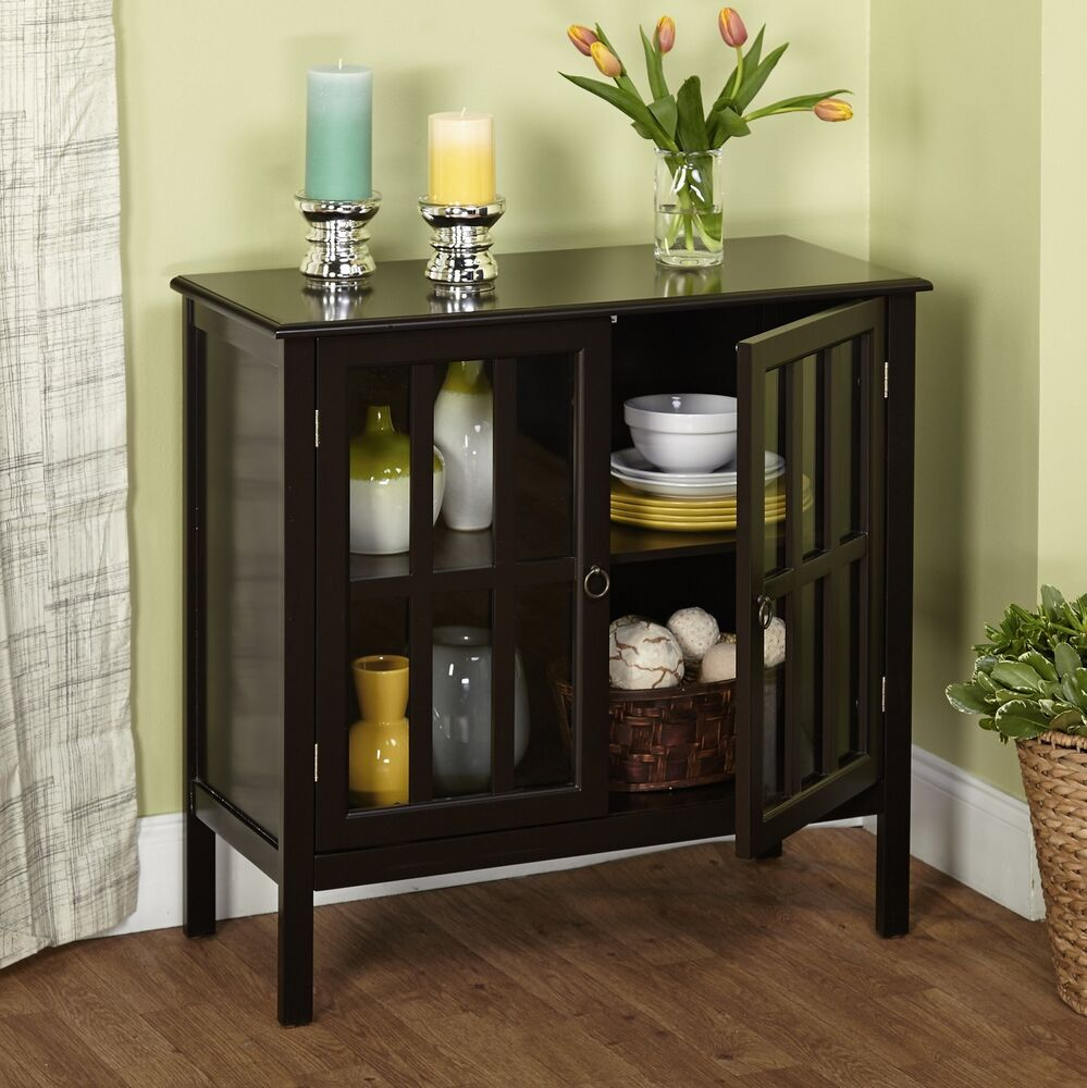 Accent Storage Cabinet W/ 2 Door 1 Adjustable Shelf Wood