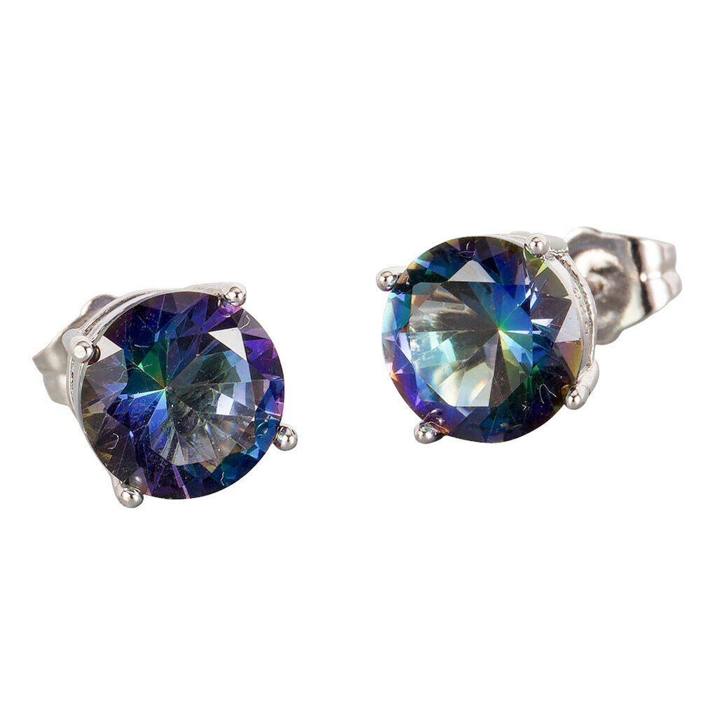 Round Crystal Silver Stud Earrings Rainbow Set 57
