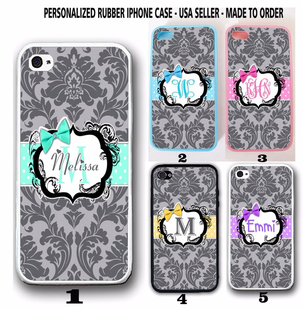 personalized custom grey damask monogram case for iphone 7 6s plus se 5 cute bow
