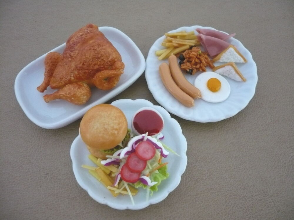 Hamburger chip turkey breakfast on plate dollhouse miniatures food deco barbie ebay - Deco snack ...