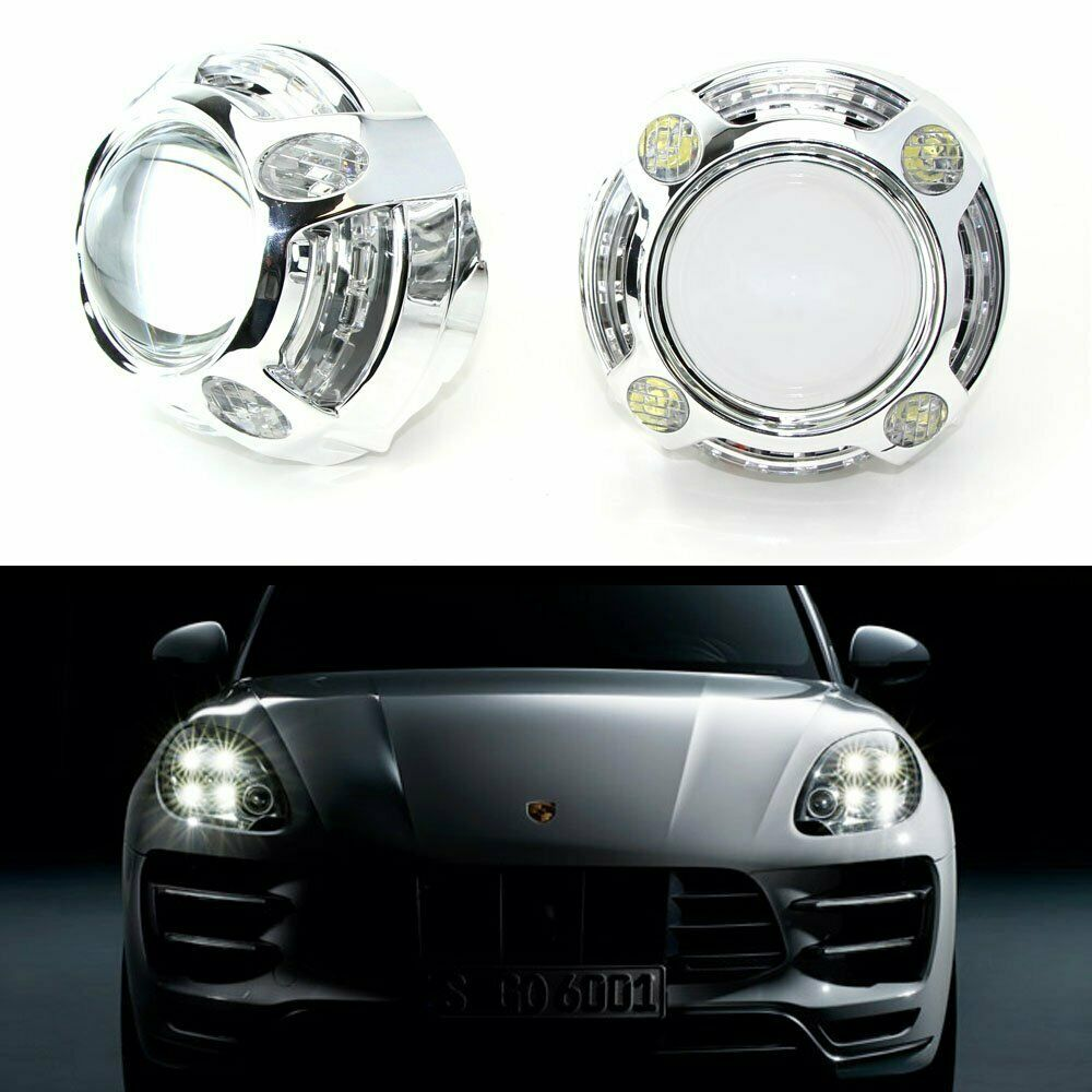 3 0 h1 bi xenon projector lens for headlights w porsche style 4 led drl shroud ebay. Black Bedroom Furniture Sets. Home Design Ideas
