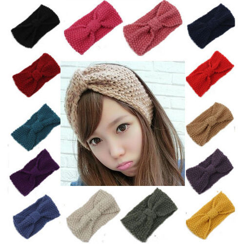 ... Knot Headband Crochet Turban Bow Winter Ear Warmer Hair Band eBay