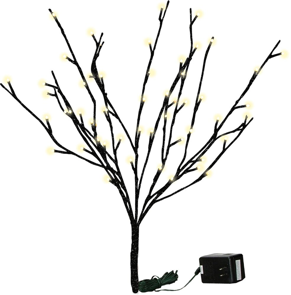 BLACK GLITTER TWIGS Lighted Branches, Choose From 2 Sizes