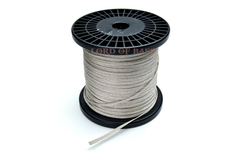 1 4 Flat Braid Wire Untinned : Ft flat braided quot mm wide speaker tinsel lead