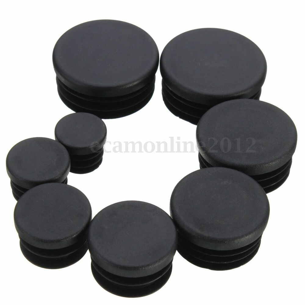 Black round plastic blanking end caps cap steel tube