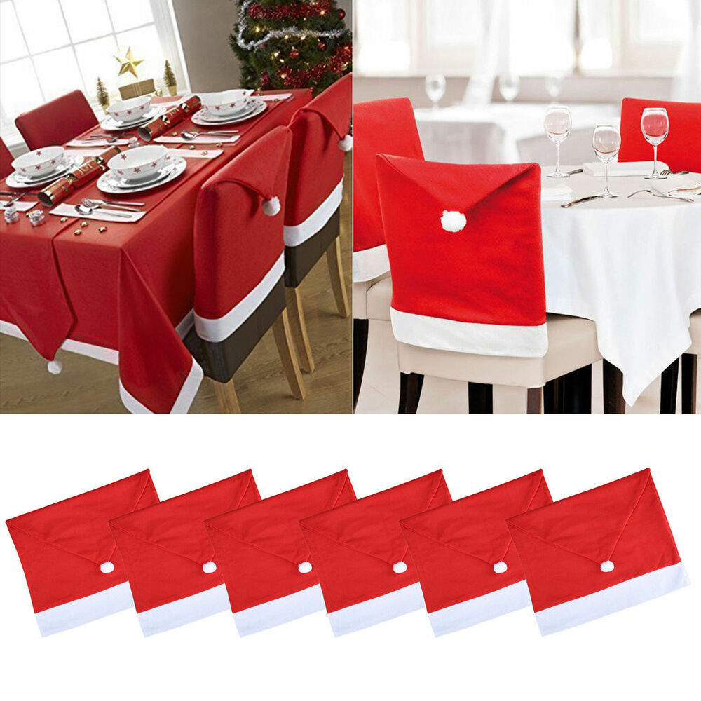 Red Santa Hat Coverings Chair Back Covers Christmas Chair