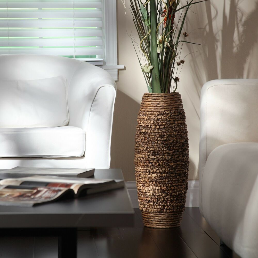 "Accessories Home: Tall Floor Vase 23"" Big Brown Woven Hyacinth Decorative"