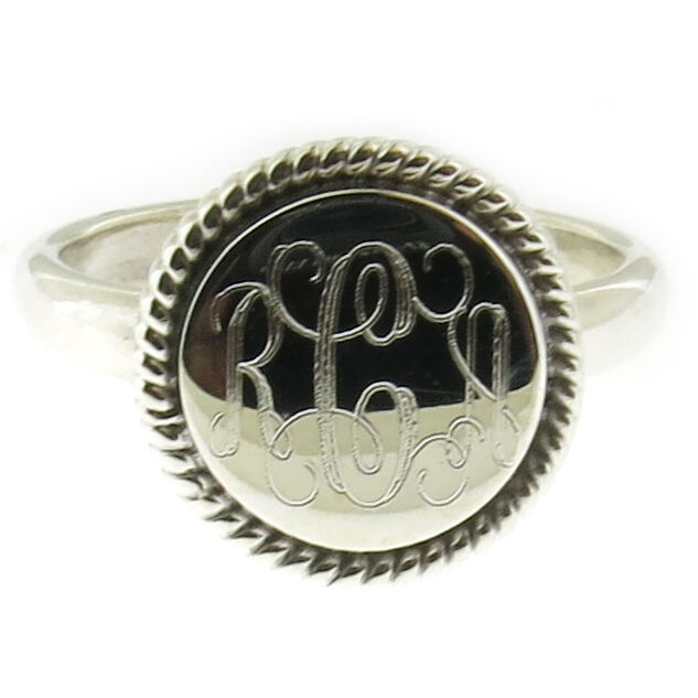 925 sterling silver monogram personalized rope edge ring