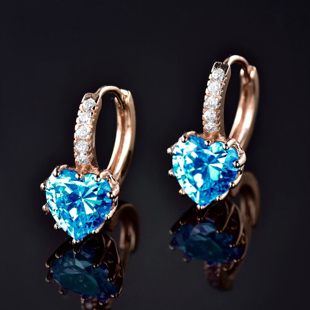 cheap earrings for cheap 18k yellow gold filled blue aquamarine 9484