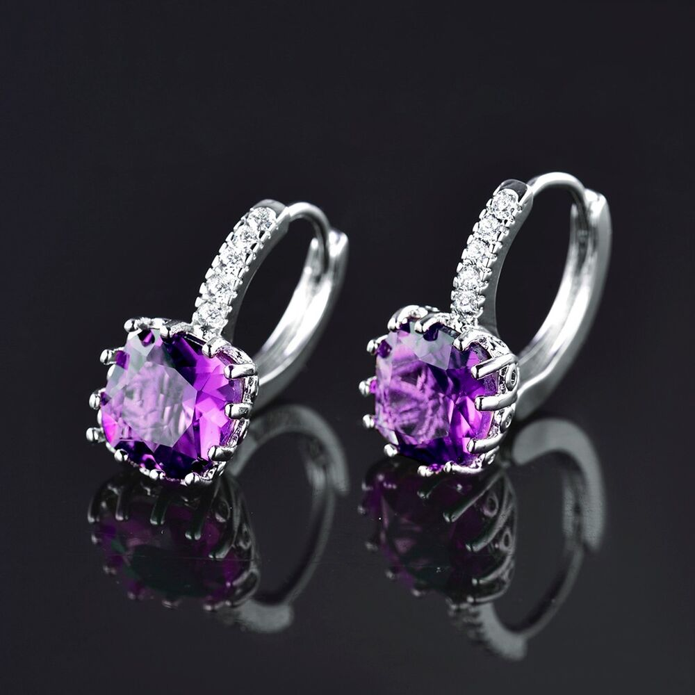 women purple amethyst gemstones jewelry 18k white gold. Black Bedroom Furniture Sets. Home Design Ideas