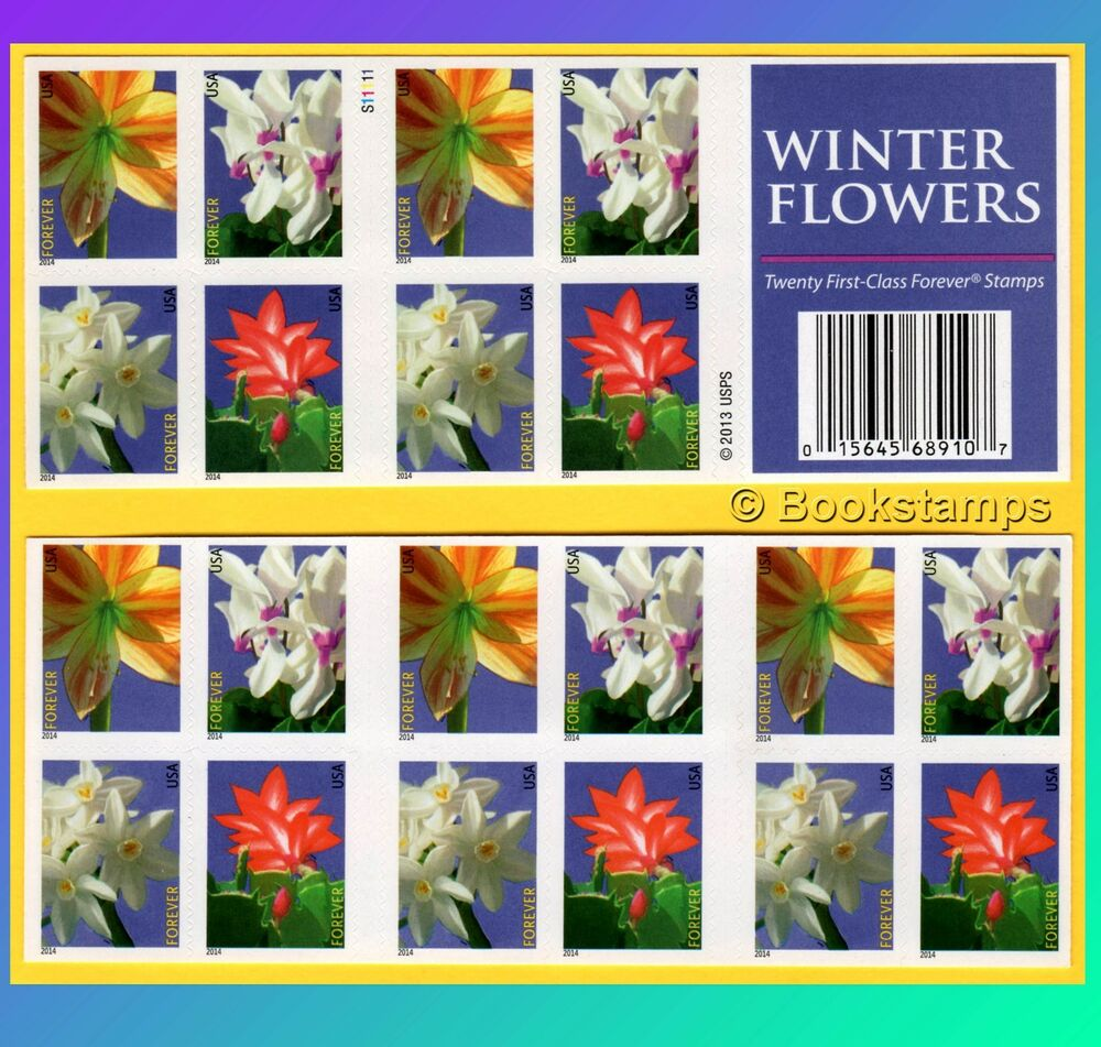 20 Winter Flowers Forever Stamps US Postage USPS Booklet ...