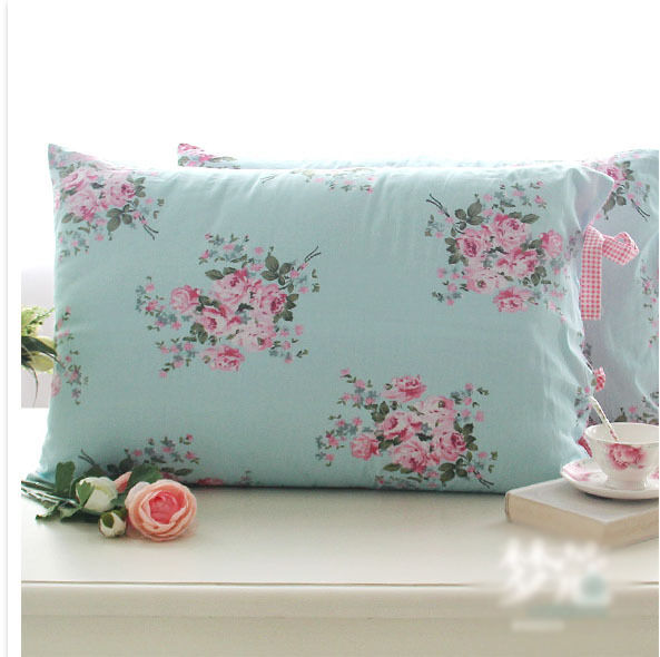 shabby chic cottage country blue floral pink check with ties pillow case sham ebay. Black Bedroom Furniture Sets. Home Design Ideas