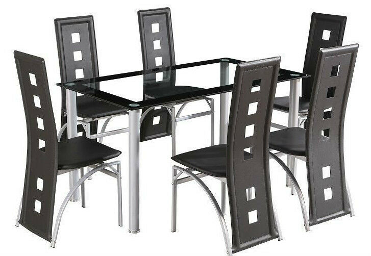 dining room table set and 6 faux leather chairs dining chairs