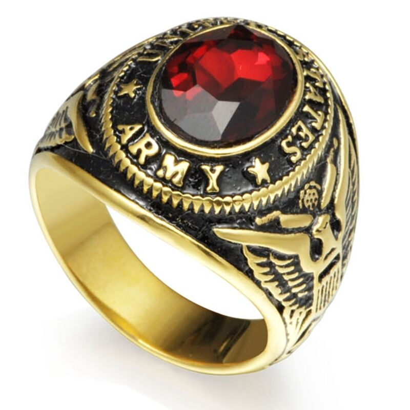 7 15 Gold Stainless Steel United States Army Military Ring