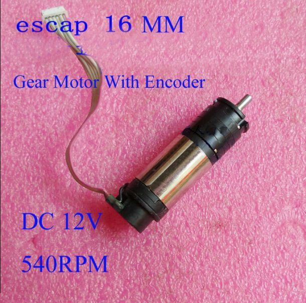 Escap 16 Coreless Dc 12v 540rpm Gear Motor With Encoder