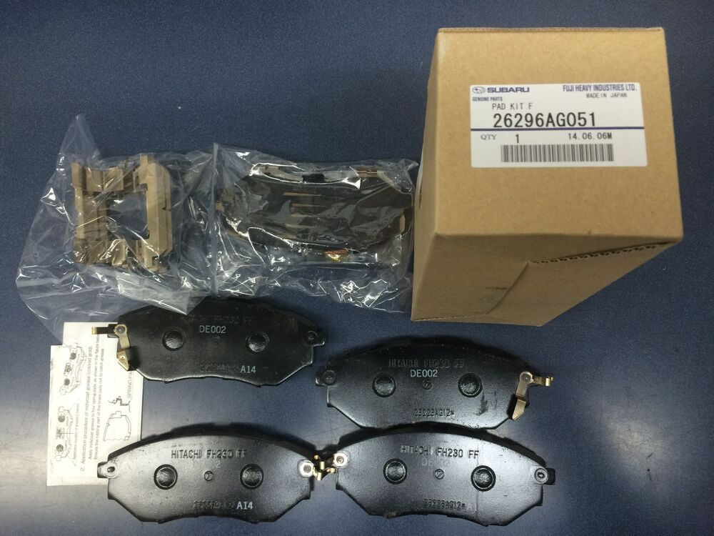 genuine oem subaru legacy front brake pad set w clips 2005 2009 26296ag051 gt ebay. Black Bedroom Furniture Sets. Home Design Ideas