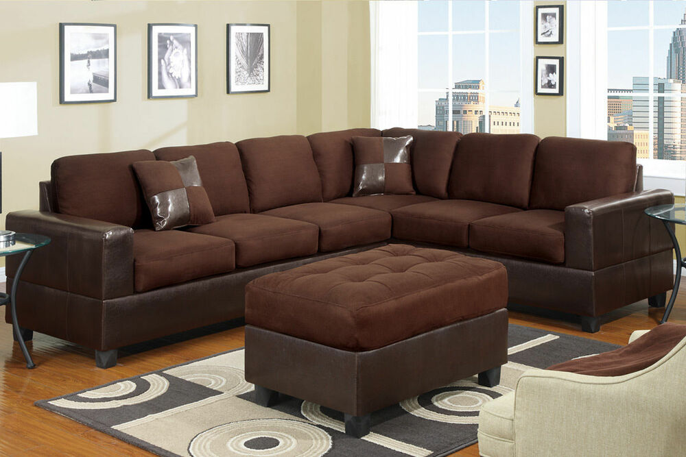 Living room chocolate microfiber cushion seat 2pc for Microfiber sectional sofa