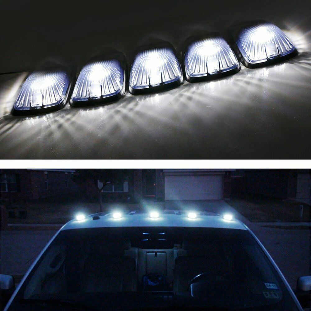 5 Smoked Lens Cab Roof Marker Running Lamps W White Led