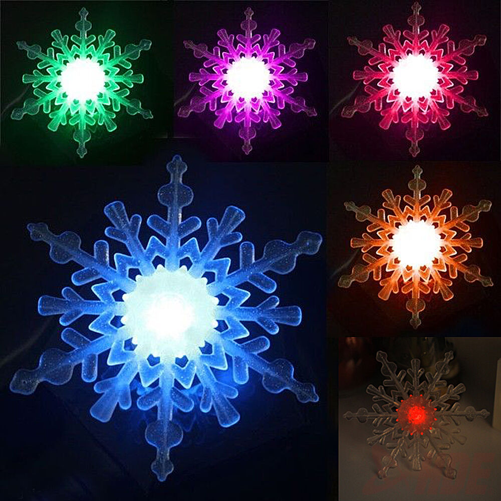 Changing color snowflake window ornament led christmas for Led christmas decorations