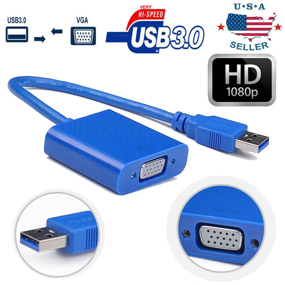 usb 3 0 2 0 to vga video graphic card display external adapter for win 7 8 10 ebay. Black Bedroom Furniture Sets. Home Design Ideas