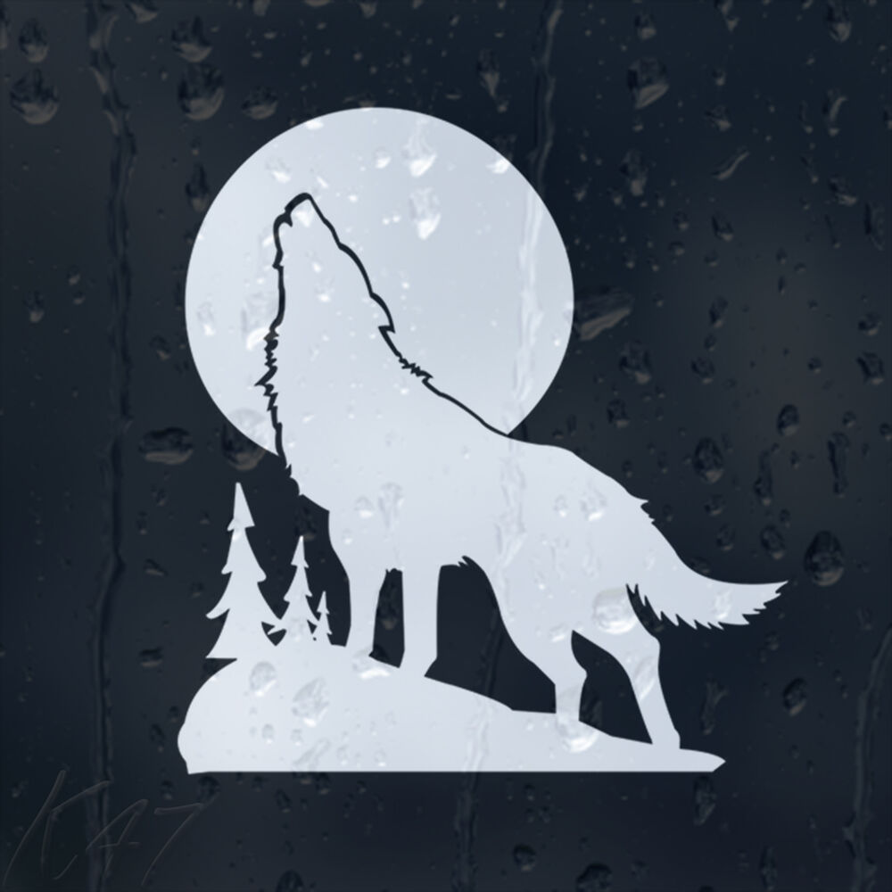 White Wolf In A Moon Light Car Decal Vinyl Sticker Ebay
