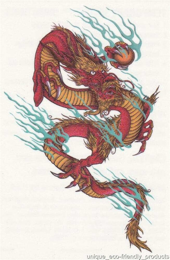 Henna Tattoo Tribal Designs Dragon: Tribal Multi Coloredl Dragon Colorful Temporary Tattoo