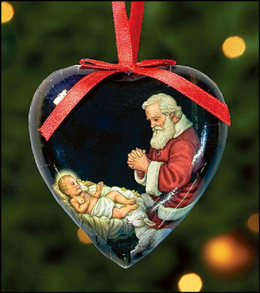 Jesus Ornaments Jesus Ornament Designs: Baby Jesus Adoring Santa Christmas Ornament